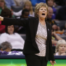 Kansas State head coach Deb Patterson shouts to her team in the second half of a Big 12 women's NCAA college basketball tournament game against Kansas in Oklahoma City, Friday, March 7, 2014. Kansas won 87-84 in overtime. (AP Photo/Sue Ogrocki)