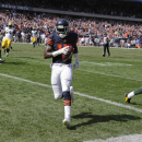 Chicago Bears wide receiver Alshon Jeffery (17) runs into the end zone for a touchdown in the first half of an NFL football game against the Green Bay Packers Sunday, Sept. 28, 2014, in Chicago. The Associated Press