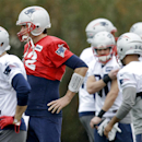 New England Patriots quarterback Tom Brady (12) warms up during practice Friday, Jan. 30, 2015, in Tempe, Ariz. The Patriots play the Seattle Seahawks in NFL football Super Bowl XLIX Sunday, Feb. 1 The Associated Press