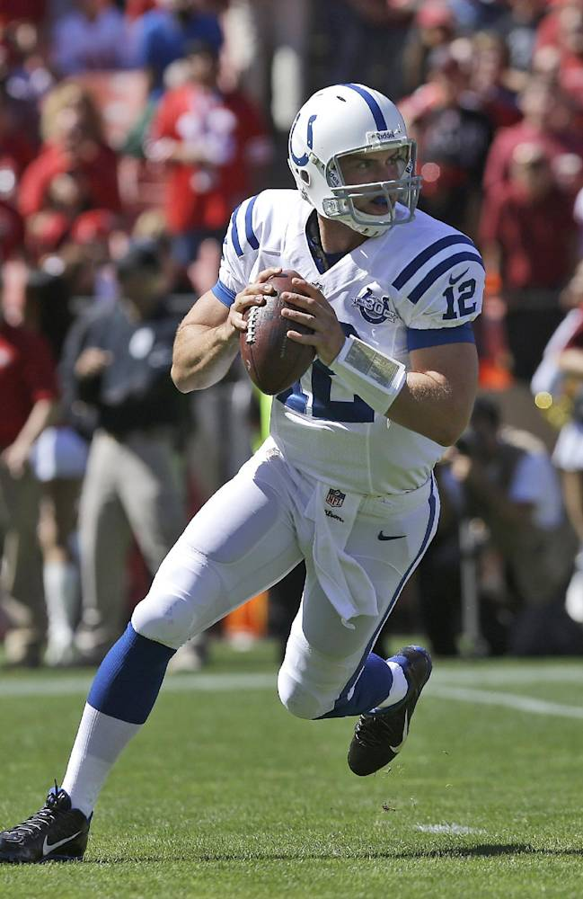 In this Sept. 22, 2013 file photo, Indianapolis Colts quarterback Andrew Luck (12) rolls out to pass during the first half of an NFL football game against the San Francisco 49ers in San Francisco. Luck and Russell Wilson. Two great QBs, two decidedly unique talents that will meet on the field for the first time on Sunday, Oct. 6, 2013,  when the Colts host the Seahawks