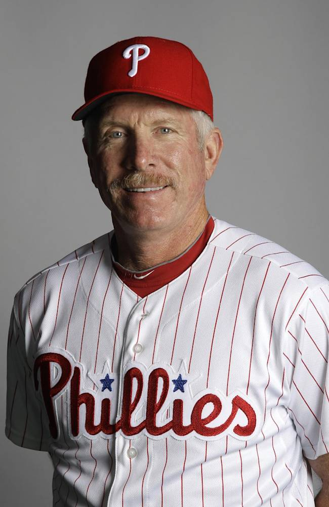 In this March 2012 file photo, Mike Schmidt of the Philadelphia Phillies baseball team poses for a photo in Clearwater, Fla. Schmidt is dealing with an undisclosed health issue and will not be a guest instructor for the Phillies at spring training this year. Schmidt still plans to visit camp in the middle of March, the team says in a statement. However, the former third baseman won't serve as an instructor for the first time in more than decade so he can