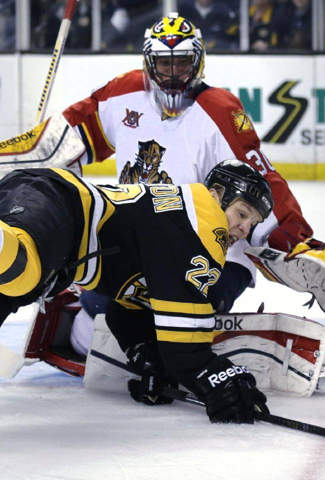 Boston Bruins right wing Shawn Thornton (22) tries to control the puck as he is checked to the ice in front of Florida Panthers goalie Scott Clemmensen during the second period of an NHL hockey game, Thursday, Nov. 7, 2013, in Boston