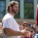 Philadelphia Eagles guard Evan Mathis speaks with members of the media at NFL football training camp, Friday, July 25, 2014, in Philadelphia. (AP Photo) The Associated Press
