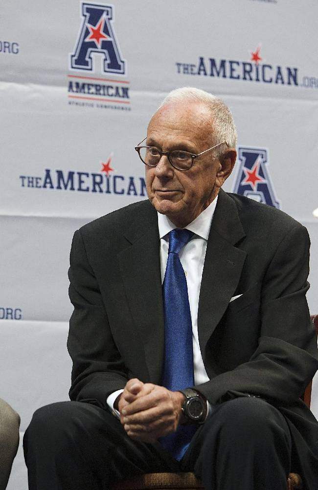 SMU coach Larry Brown attends the American Athletic Conference NCAA college basketball media day on Wednesday, Oct. 16, 2013, in Memphis, Tenn