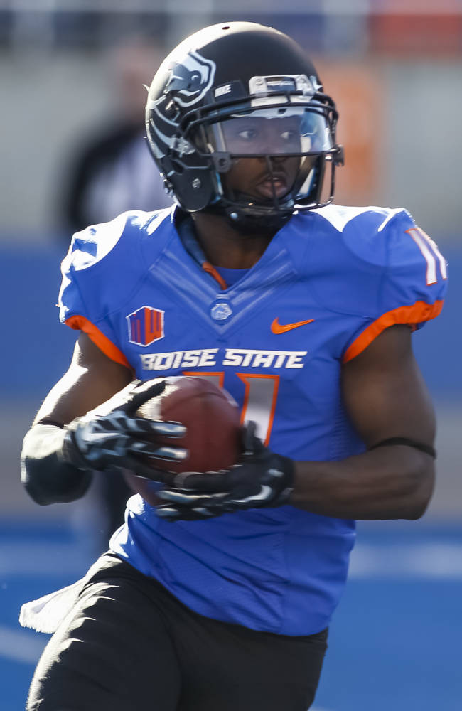 Boise State wide reciever Shane Williams-Rhodes runs the ball during the first half of an NCAA college spring football scrimmage in Boise, Idaho, Saturday, April 12, 2014