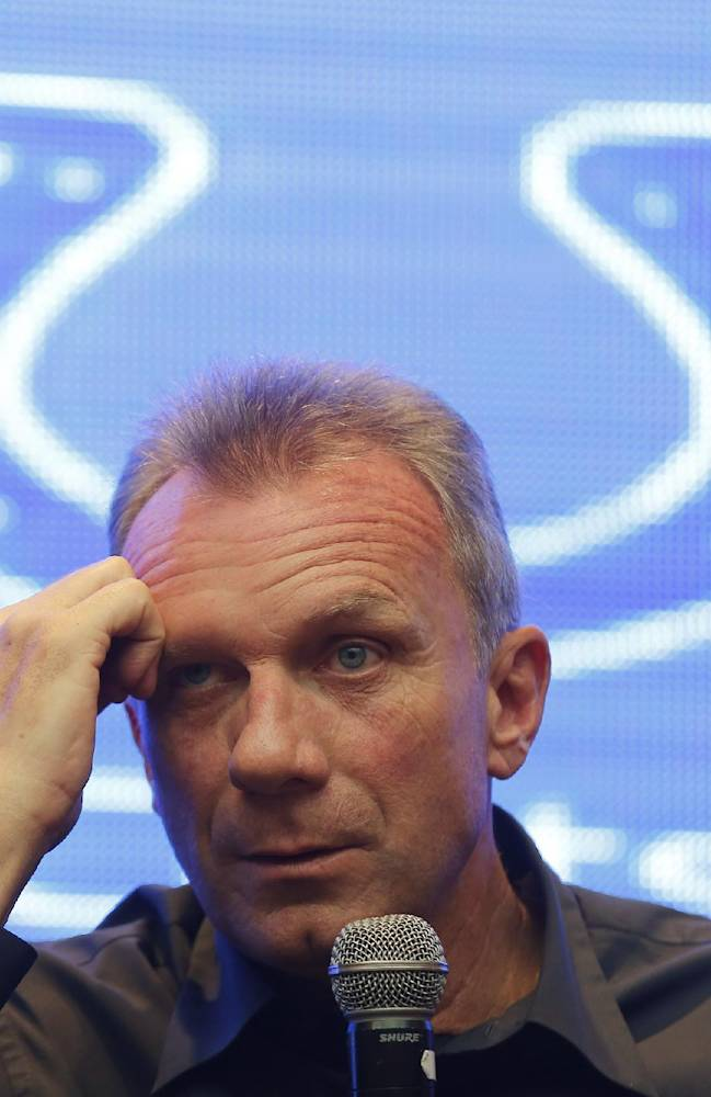 NFL Legend and Hall of Fame Quarterback Joe Montana listens a question from a Chinese fan during a NFL promotional event called