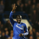 Chelsea's Demba Ba celebrates his goal against Tottenham Hotspur during their English Premier League soccer match at Stamford Bridge, London, Saturday, March 8, 2014