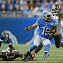 Detroit Lions wide receiver Golden Tate breaks free from Tampa Bay Buccaneers free safety Dashon Goldson, left, during the first half of an NFL football game in Detroit, Sunday, Dec. 7, 2014 The Associated Press
