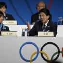 Japan's Prime Minister Shinzo Abe, speaks during the Tokyo 2020 bid presentation in the 125th International Olympic Committee session in Buenos Aires, Argentina, Saturday, Sept. 7, 2013. Madrid, Istanbul and Tokyo are competing to host the 2020 Summer Olympic Games. (AP Photo/Natacha Pisarenko)