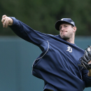 Detroit Tigers pitcher Max Scherzer throws during baseball practice in Detroit Tuesday, Sept. 30, 2014. The Detroit Tigers start the playoffs at the Baltimore Orioles in Game 1 of the American League Division Series Thursday. (AP Photo/Paul Sancya)