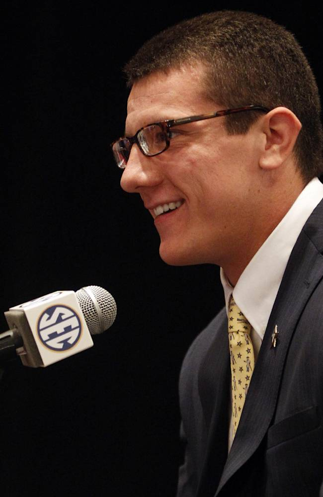 Vanderbilt tight end Steven Scheu speaks to media at SEC media days on Monday, July 14, 2014, in Hoover, Ala
