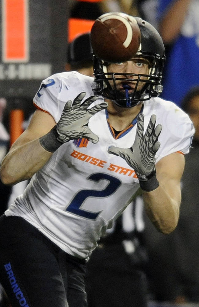 Boise State Broncos wide receiver Matt Miller (2) makes a reception in the second half during a game at Lavell Edwards Stadium on Friday,  Oct. 25, 2013, in Provo, Utah