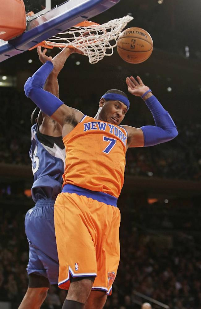New York Knicks' Carmelo Anthony (7) drives past Minnesota Timberwolves' Dante Cunningham to dunk the ball during the first half of an NBA basketball game Sunday, Nov. 3, 2013, in New York