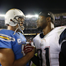 San Diego Chargers quarterback Philip Rivers talks with New England Patriots outside linebacker Jamie Collins after the Patriots defeated the Chargers in an NFL football game Sunday, Dec. 7, 2014, in San Diego The Associated Press
