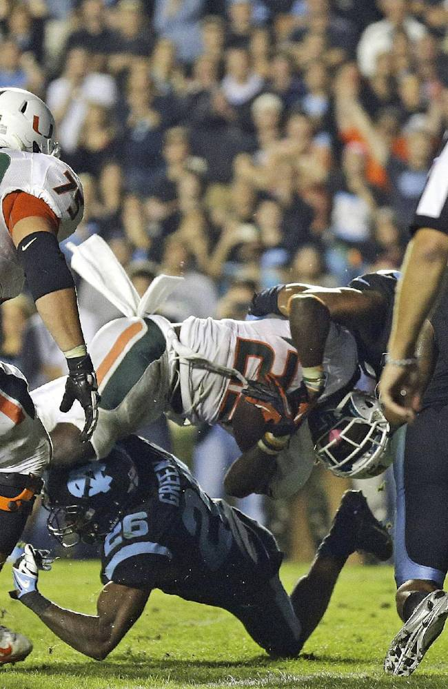 No. 10 Miami edges North Carolina 27-23
