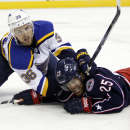 St. Louis Blues' Nate Prosser, left, collides with Columbus Blue Jackets' Jerry D'Amigo in the second period of an NHL preseason hockey game in Columbus, Ohio, Sunday, Sept. 21, 2014 The Associated Press