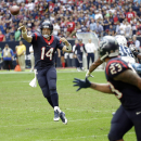 Houston Texans quarterback Ryan Fitzpatrick (14) throws a pass to running back Arian Foster (23) during the second half of an NFL football game against the Tennessee Titans Sunday, Nov. 30, 2014, in Houston. Fitzpatrick set a franchise record throwing si