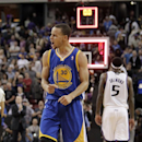 Golden State Warriors guard Stephen Curry celebrates after the Warriors defeated the Sacramento Kings in a NBA basketball game in Sacramento, Calif., Sunday, Dec. 1, 2013. Curry made two free throws with 8.6 seconds left in the game to give the Warriors a