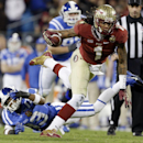 Florida State's Kelvin Benjamin (1) runs past Duke's Michael Westray (13) in the first half of the Atlantic Coast Conference Championship NCAA football game in Charlotte, N.C., Saturday, Dec. 7, 2013. Florida State won 45-7 The Associated Press