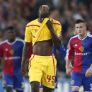 Liverpool's Mario Balotelli, center, leaves the pitch at halftime during the Champions League Group B soccer match between FC Basel 1893 and Liverpool FC, at the St. Jakob-Park stadium in Basel, Switzerland, Wednesday, Oct. 1, 2014