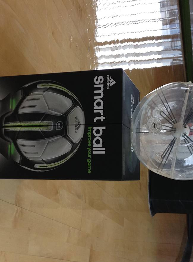 The adidas miCoach Smart Ball is seen at adidas' North American headquarters in Portland, Ore., on June 26, 2014