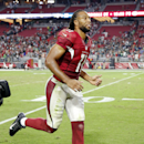 Arizona Cardinals wide receiver Larry Fitzgerald leaves the field after an NFL football game against the Philadelphia Eagles, Sunday, Oct. 26, 2014, in Glendale, Ariz. The Cardinals won 24-20 The Associated Press
