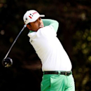 Apr 10, 2016; Augusta, GA, USA; Anirban Lahiri hits his tee shot on the 2nd hole during the final round of the 2016 The Masters golf tournament at Augusta National Golf Club. Mandatory Credit: Rob Schumacher-USA TODAY Sports