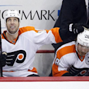 Philadelphia Flyers' R.J. Umberger (18) celebrates his goal with Claude Giroux (28) as he watches it replayed on the scoreboard in the third period of an NHL hockey game against the Pittsburgh Penguins in Pittsburgh, Wednesday, Oct. 22, 2014. The Flyers won 5-3. (AP Photo/Gene J. Puskar)