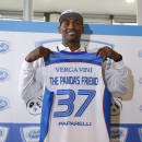 Former NBA All-Star Metta World Peace poses with a Pallacanestro Cantu jersey in Milan, Italy, Thursday, March 26, 2015. Former NBA All-Star Metta World Peace has signed for Italian team Pallacanestro Cantu for the remainder of the season. World Peace, who changed his name from Ron Artest, was playing for the Sichuan Blue Whales in the Chinese Basketball Association after a long NBA career which included stints with the Chicago Bulls, Los Angeles Lakers and New York Knicks. (AP Photo/Luca Bruno)