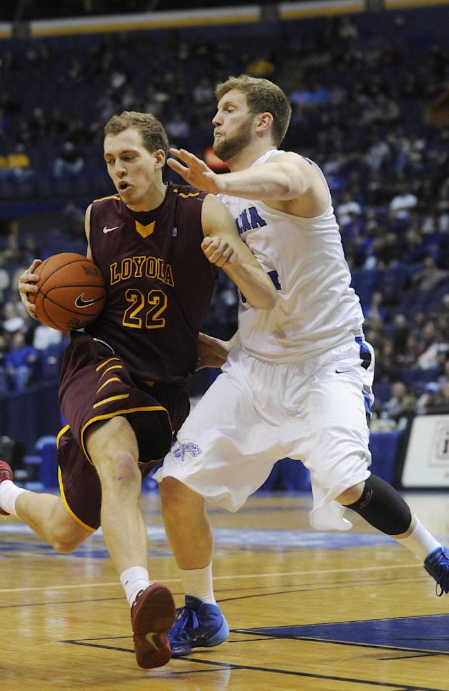 Indiana State's Jake Kitchell, right. blocks Loyola of Chicago's Matt O'Leary on a drive during the second half of an NCAA college basketball game in the quarterfinals of the Missouri Valley Conference men's tournament, Friday, March 7, 2014, in St. Louis