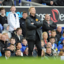 Manchester United's manager David Moyes is seen during their English Premier League soccer match against Everton at Goodison Park in Liverpool, England, Sunday April 20, 2014