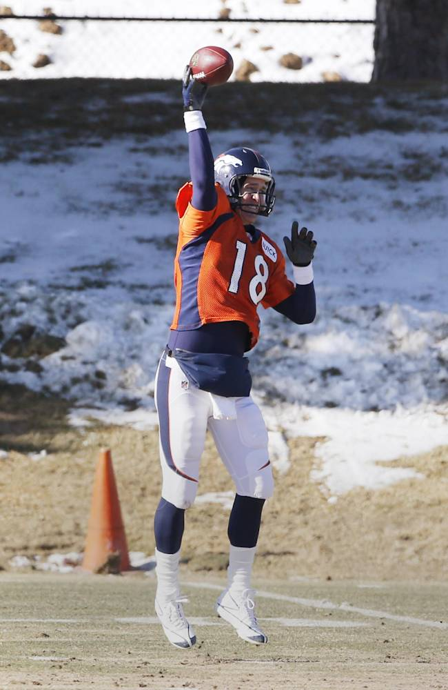 Denver Broncos quarterback Peyton Manning (18) throws a pass at practice for the football team's NFL playoff game against the San Diego Chargers at the Broncos training facility in Englewood, Colo., on Wednesday, Jan. 8, 2014