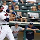 Atlanta Braves catcher Ryan Doumit breaks his bat in the second inning of a spring exhibition baseball game against the Detroit Tigers, Wednesday, Feb. 26, 2014, in Kissimmee, Fla. Doumit was out on the ground ball The Associated Press