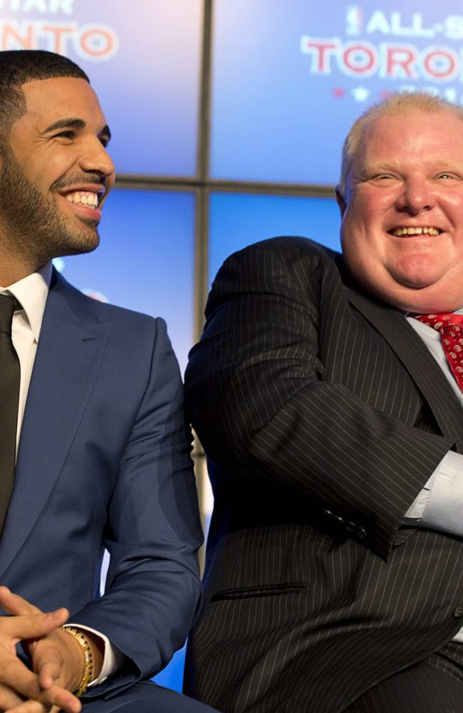 Canadian recording artist Drake, left, and Toronto Mayor Rob Ford laugh at a news conference announcing that Toronto will host the 2016 NBA All-Star game, in Toronto, Monday, Sept. 30, 2013