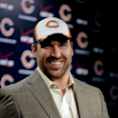 New Chicago Bears NFL football player Jared Allen, talks to the media at a news conference where Allen was introduced Monday, March 31, 2014, in Lake Forest, Ill The Associated Press