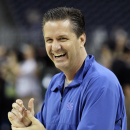Kentucky head coach John Calipari reacts during a practice for a men's NCAA Final Four semifinal college basketball game Friday, April 1, 2011, in Houston. Kentucky plays UConn on Saturday. (AP Photo/Eric Gay)