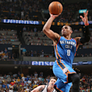Russell Westbrook #0 of the Oklahoma City Thunder takes a shot against the Memphis Grizzlies in Game Four of the Western Conference Quarterfinals during the 2014 NBA Playoffs on April 26, 2014 at FedExForum in Memphis, Tennessee. (Photo by Joe Murphy/NBAE via Getty Images)