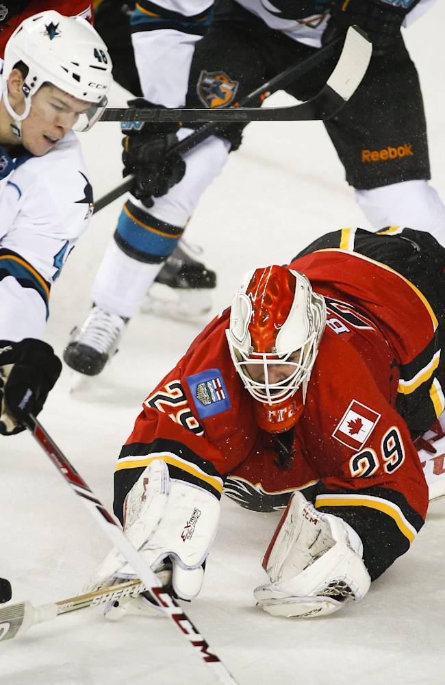 San Jose Sharks' Tomas Hertl, left, from the Czech Republic, tries to get the puck past a diving Calgary Flames goalie Reto Berra, from Switzerland, during the second period of an NHL hockey game Tuesday, Nov. 12, 2013, in Calgary, Alberta