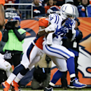 Indianapolis Colts wide receiver Hakeem Nicks, right, makes a catch for a touchdown as Denver Broncos cornerback Bradley Roby defends during the second half of an NFL divisional playoff football game, Sunday, Jan. 11, 2015, in Denver The Associated Press