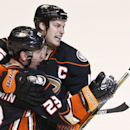 Anaheim Ducks defenseman Francois Beauchemin is hugged b y teammate Ryan Getzlaf after scoring a short handed goal against the New York Rangers during the third period of an NHL hockey game Wednesday, Jan. 7, 2015, in Anaheim, Calif The Associated Press