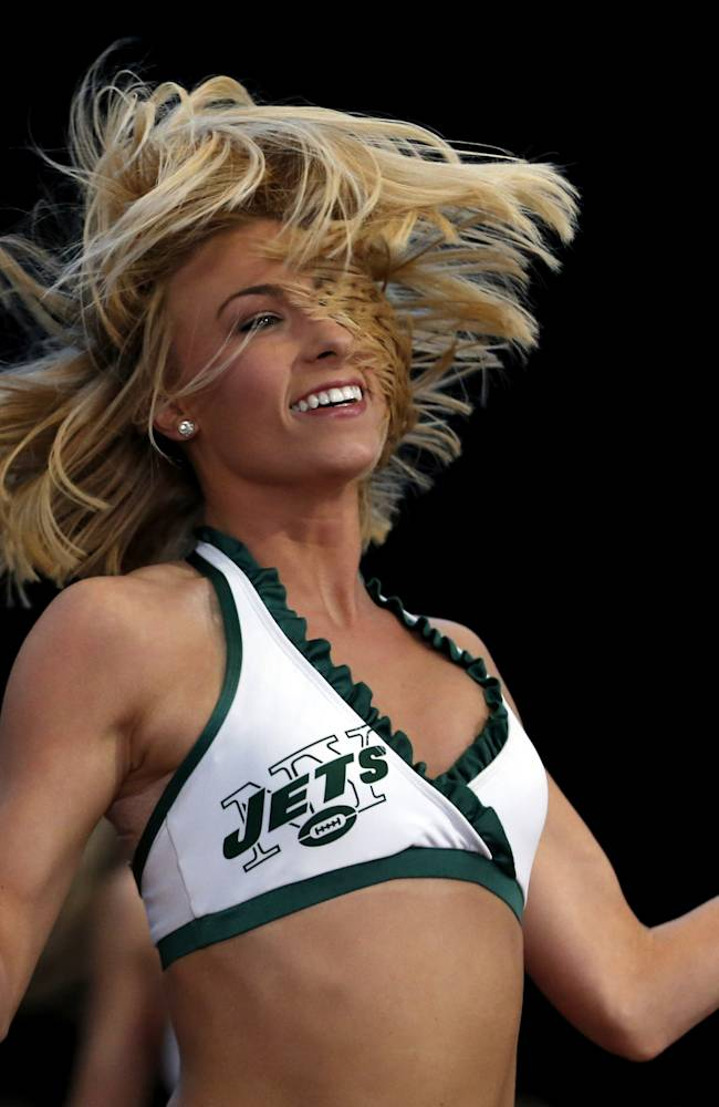 Ashley S. performs during the final round of the New York Jets Flight Crew cheerleading auditions at MetLife Stadium, Thursday, April 10, 2014, in East Rutherford, N.J