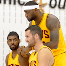 INDEPENDENCE, OH - SEPTEMBER 25: Kevin Love #0 Kyrie Irving #2 and LeBron James #23 of the Cleveland Cavaliers pose for a photo during media day at Cleveland Clinic Courts on September 25, 2014 in Independence, Ohio. (Photo by Jason Miller/Getty Images)