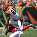 Cincinnati Bengals tight end Jermaine Gresham (84) is tackled by Atlanta Falcons cornerback Desmond Trufant (21) in the second half of an NFL football game, Sunday, Sept. 14, 2014, in Cincinnati The Associated Press