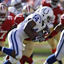 Indianapolis Colts running back Ahmad Bradshaw (44) runs for a one-yard touchdown against the San Francisco 49ers during the fourth quarter of an NFL football game in San Francisco, Sunday, Sept. 22, 2013. (AP Photo/Ben Margot)
