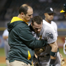 Athletics' Gentry leaves game following collision The Associated Press