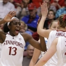 Stanford's Chiney Ogwumike (13) celebrates a score against Tulsa during the first half of a first-round game in the women's NCAA college basketball tournament on Sunday, March 24, 2013, in Stanford, Calif. (AP Photo/Ben Margot)