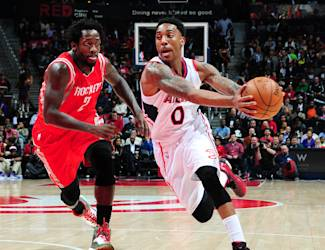 ATLANTA, GA - MARCH 3: Jeff Teague #0 of the Atlanta Hawks drives against Patrick Beverley #2 of the Houston Rockets on March 3, 2015 at Philips Arena in Atlanta, Georgia. (Photo by Scott Cunningham/NBAE via Getty Images)