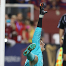 FC Chelsea goalkeeper Thibaut Courtois (13) in action on Tuesday,July,28, 2015, in Landover, Maryland. Chelsea and FC Barcelona face off at the 2015 International Champions Cup. Damian Strohmeyer/AP Images for International Champions Cup