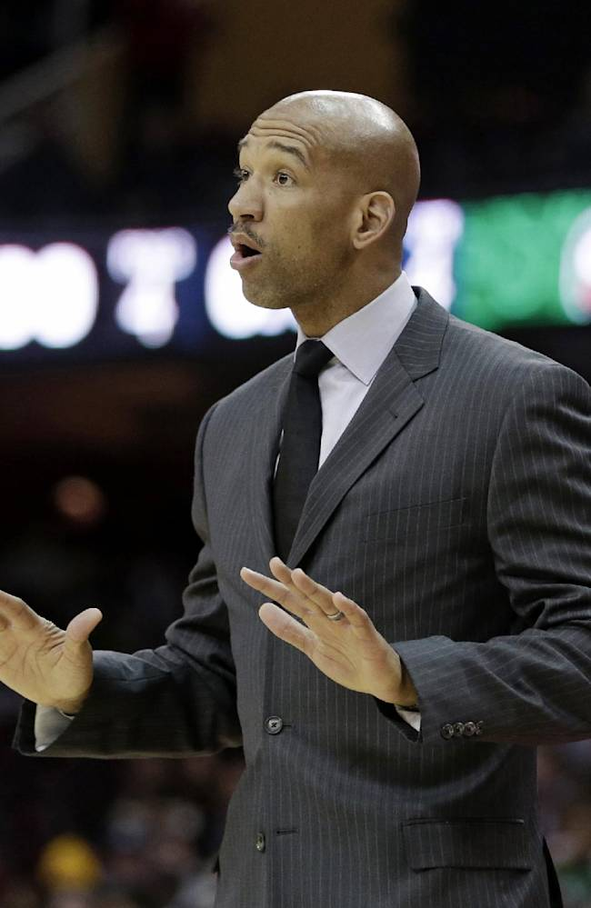 New Orleans Pelicans head coach Monty Williams watches during the fourth quarter of an NBA basketball game against the Cleveland Cavaliers, Tuesday, Jan. 28, 2014, in Cleveland. New Orleans defeated Cleveland 100-89