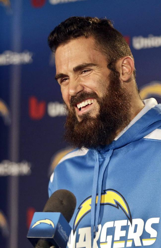 San Diego Chargers free safety Eric Weddle reacts to a question during news conference covering the Chargers' upset playoff victory over the Cincinnati Bengals and the teams' upcoming NFL football playoff game against the Denver Broncos at a news conference Monday, Jan. 6, 2014, in San Diego